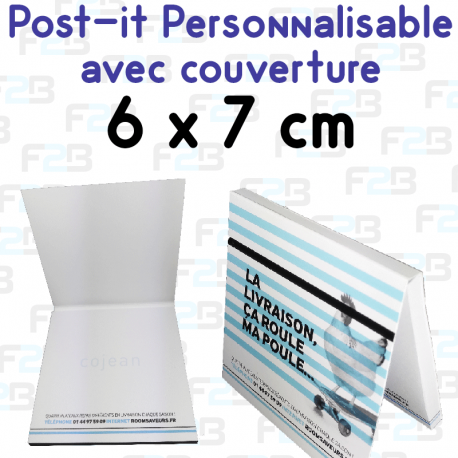 Post-it avec couverture personnalise 68x75mm